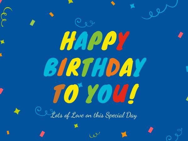 生日快樂祝福彩紙藍色卡通賀卡設計模板素材