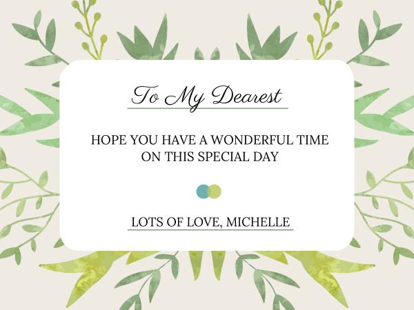 感恩節快樂祝愿美好時光溫馨淺綠色文藝賀卡設計模板素材