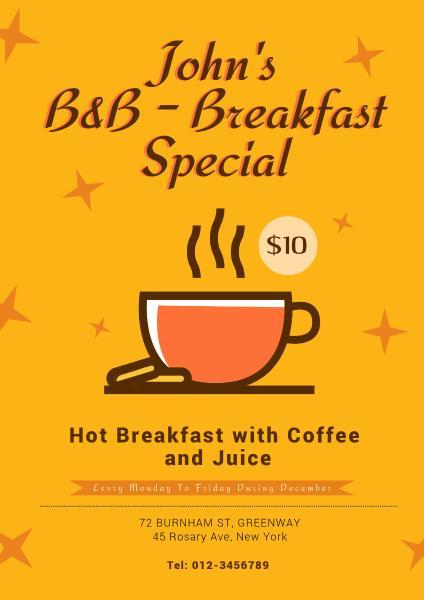 咖啡馆早餐促销宣传黄色手绘海报设计