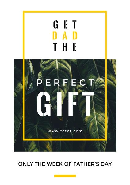 父亲节礼品促销折扣植物白色文艺海报设计