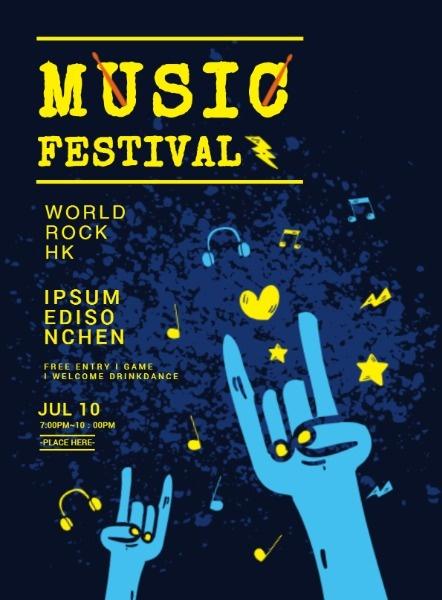 摇滚音乐节海报设计模板素材
