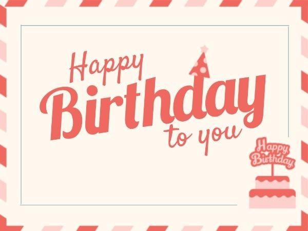 粉色卡通生日祝福卡賀卡設計模板素材