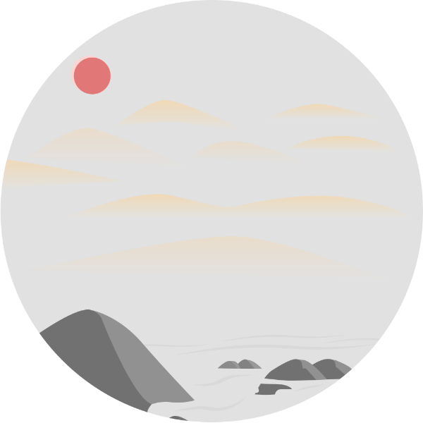 圆形圆太阳风景节日贴纸素材