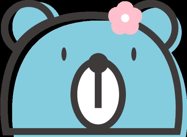 小熊卖萌卡通可爱蓝色