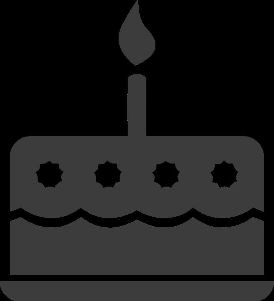 蛋糕蜡烛生日黑白卡通贴纸素材