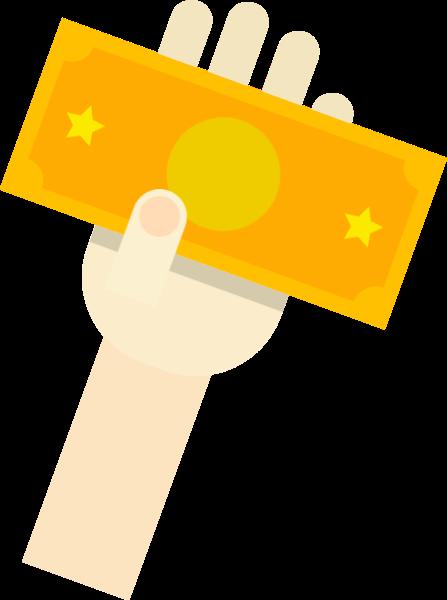 钱纸币手势拿钱伸手贴纸素材