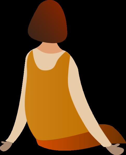 女生女孩人物背影坐姿贴纸素材