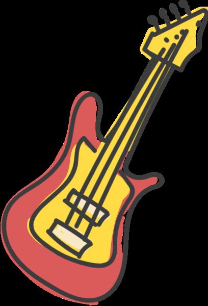 吉他乐器音乐手绘卡通贴纸素材