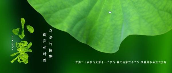 传统文化24节气绿色小暑公众号封面大图