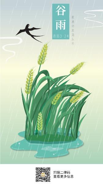 传统文化24节气谷雨麦穗海报设计模板素材
