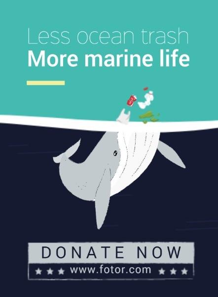 海洋污染公益海报设计模板素材