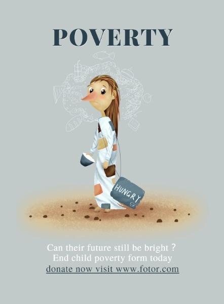 关爱贫困儿童公益海报设计模板素材