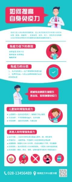 藍色卡通健康科普醫療知識宣傳易拉寶設計模板素材
