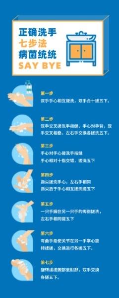 正確洗手七步法易拉寶設計模板素材