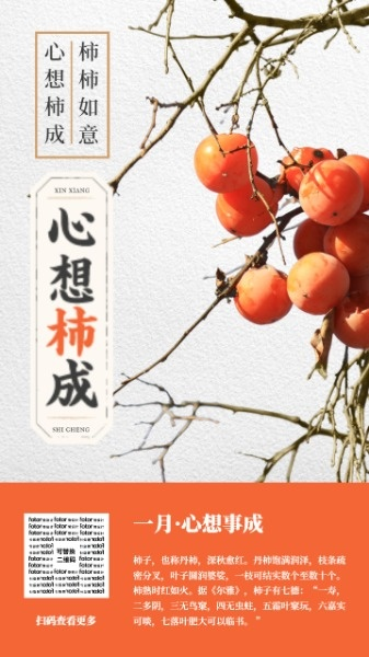 新年春节一月月签柿子祝福图文海报设计模板素材