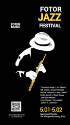 爵士音乐狂欢节黑色背景娱乐活动海报设计模板素材