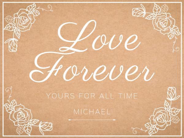 情人节玫瑰浅棕色简约贺卡设计模板素材