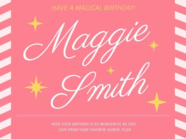 生日快乐祝福粉色简约贺卡设计模板素材