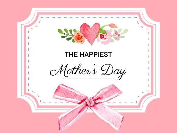母亲节花朵粉红色简约贺卡设计模板素材
