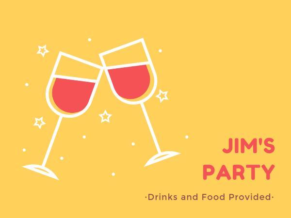 私人聚会邀请红酒黄色卡通贺卡设计模板素材