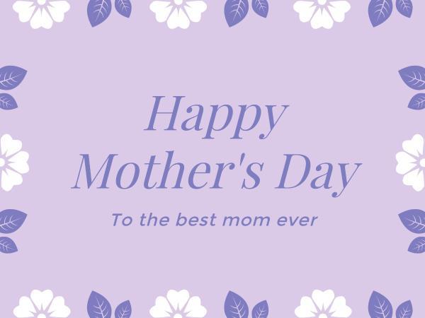 母亲节感恩花边紫色贺卡设计模板素材