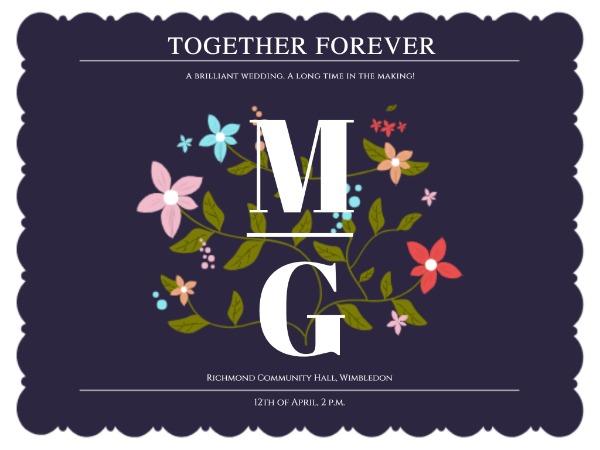 婚礼爱情邀请花朵蓝紫色文艺