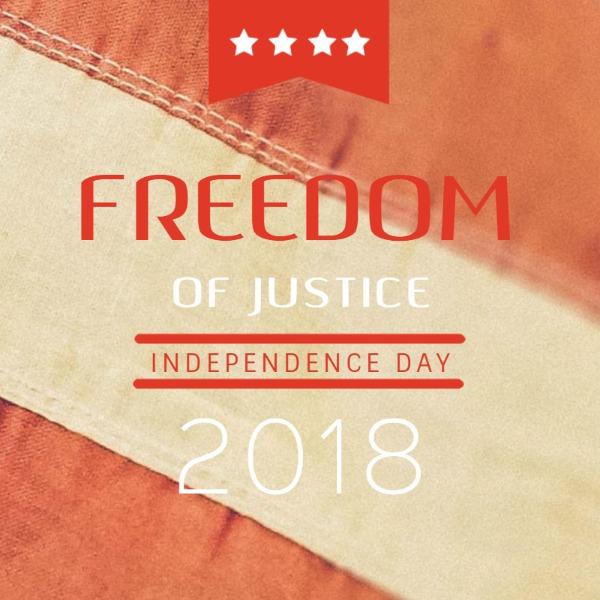 红色简约自由独立日帖子
