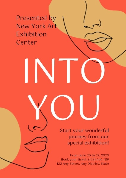 Red Art Exhibition Poster Template