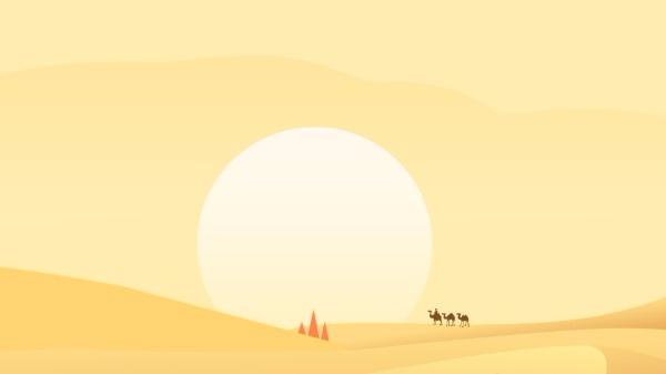 沙漠夕阳电脑壁纸模板