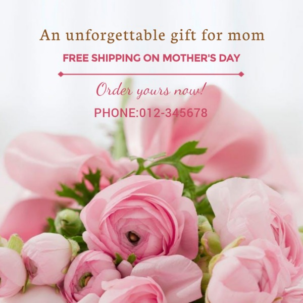 粉色母亲节销售主体海报