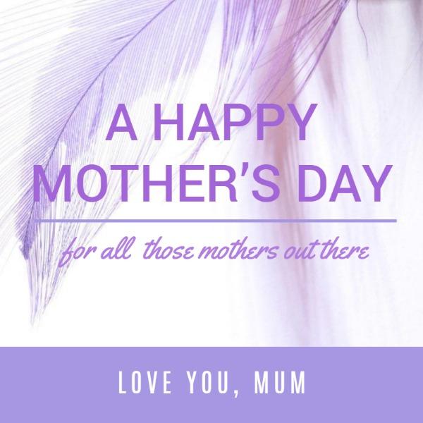 紫色母亲节羽毛主题海报