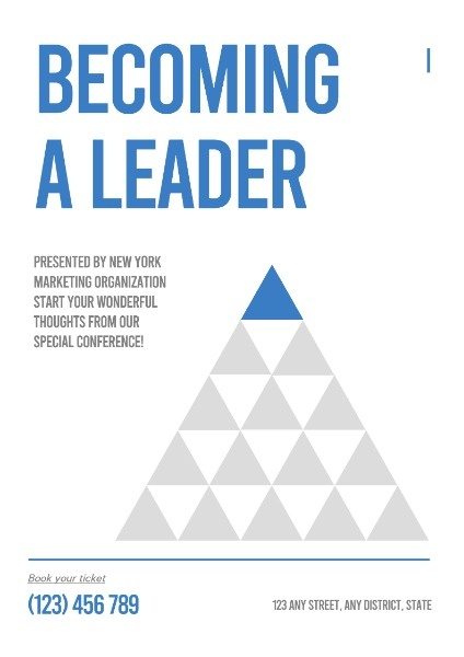 Simple White Becoming A Leader Book Poster