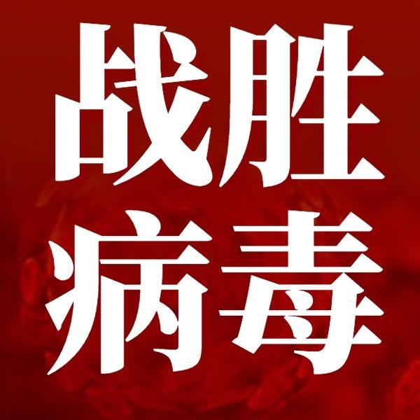 红色简约战胜病毒正能量