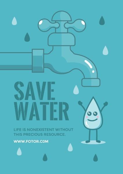 卡通水龙头水滴节约用水海洋保护地球绿色环境