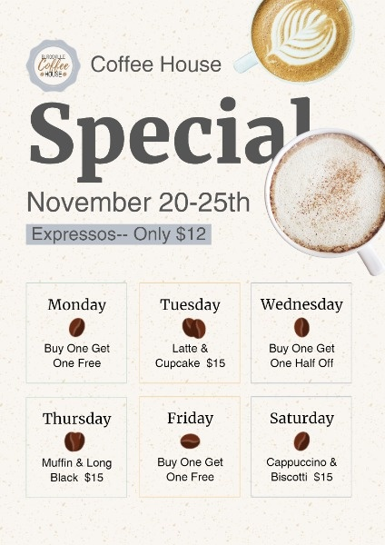 White Coffee House Special Discount