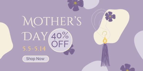 紫色手绘女性饰品母亲节活动