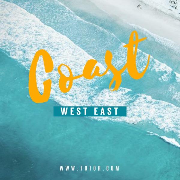蓝色海滩主题海报