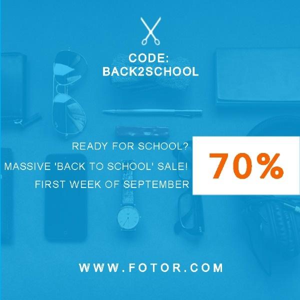 蓝色开学季商品减价海报