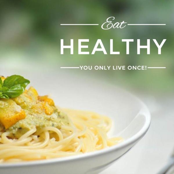 绿色健康食物意面主题海报