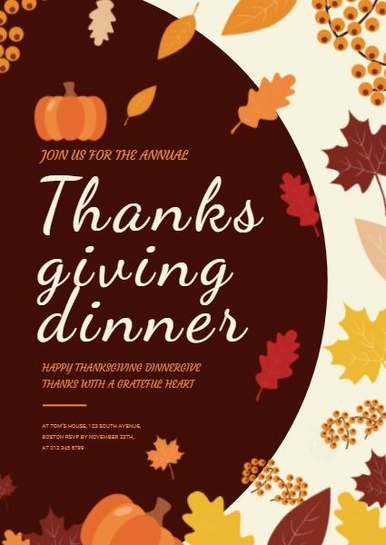 感恩节晚宴诚邀您参加一年一度