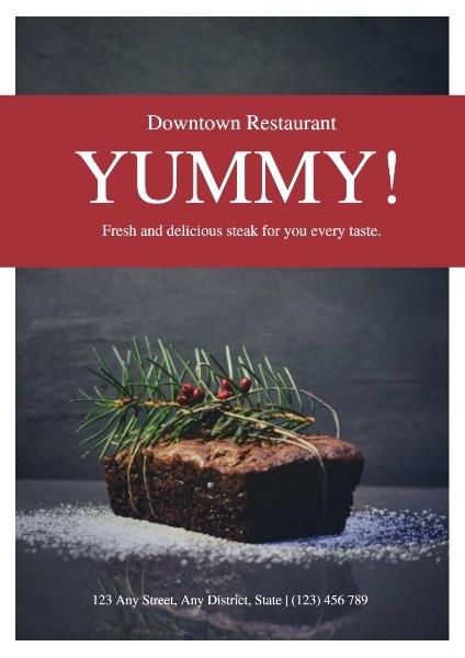 Simple Dark Grey Delicious Steak Yummy Restaurant Poster
