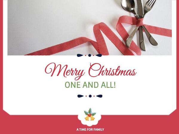 圣诞节快乐祝福家庭时光绸带白色简约