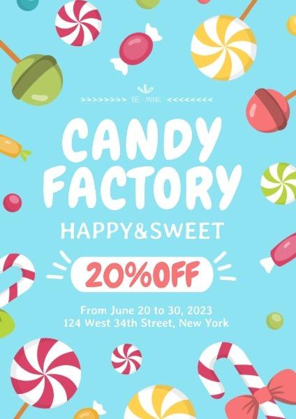 糖果店工厂折扣促销宣传
