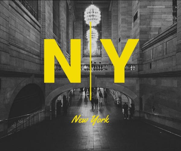 黑色纽约街景主题海报