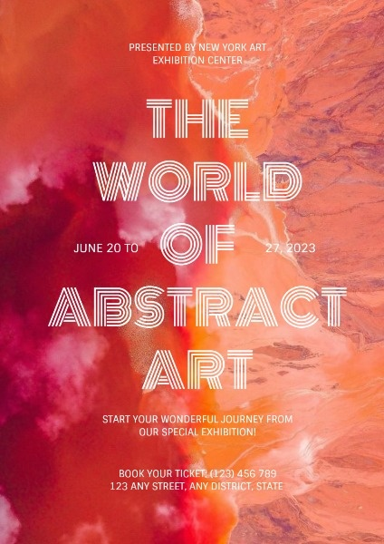 Orange And Red Abstract Exhibition Poster