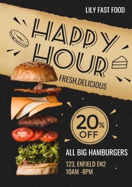 快餐汉堡美食促销折扣活动