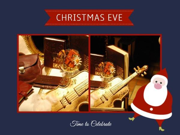 圣诞节快乐祝福小提琴蓝色简约