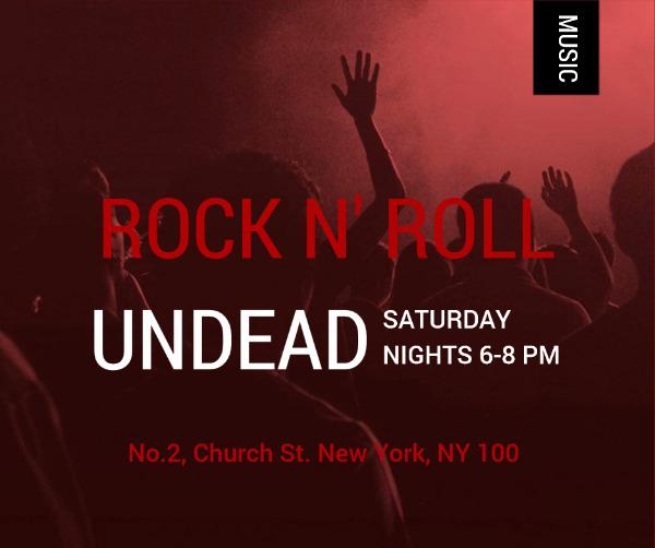 红色摇滚音乐主题海报