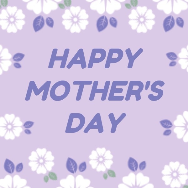 母亲节快乐感恩祝福温情花边紫色文艺卡通