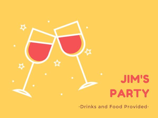 私人聚会邀请红酒黄色卡通